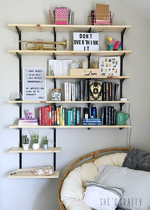 Teen Room:  How to hang and style open wall shelves