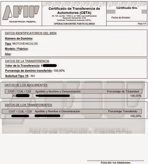 formulario ceta transferencia automotor