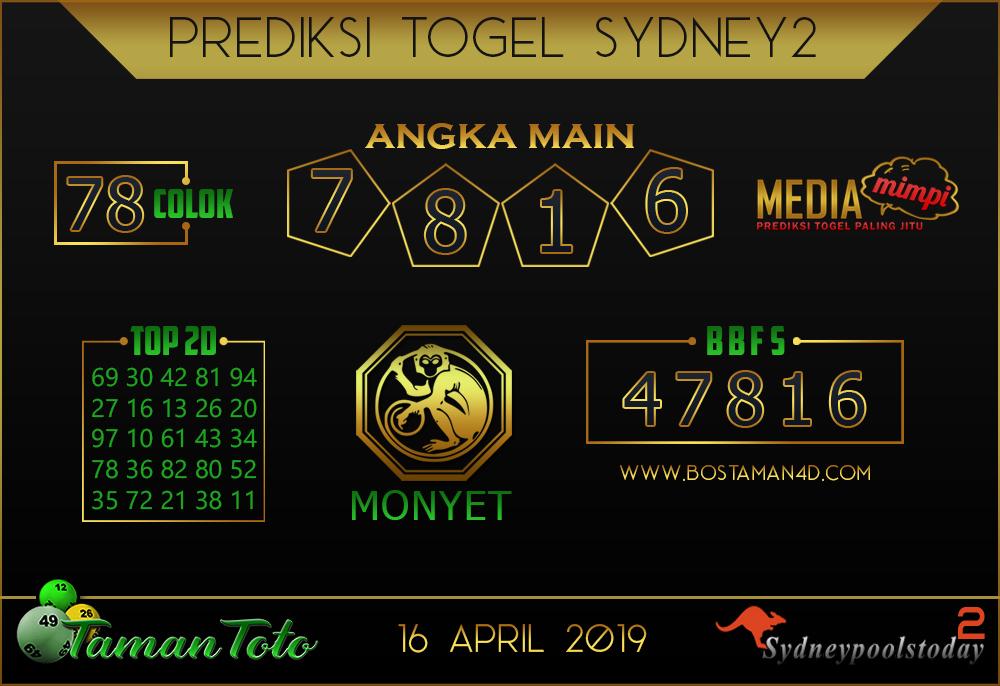 Prediksi Togel SYDNEY 2 TAMAN TOTO 16 APRIL 2019