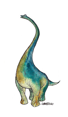 dinossaur watercolor, willian chamorro, dinossauro aquarela, dinossauro pescoçudo, dinossauro desenho, watercolor, painting, colors, lumattiello