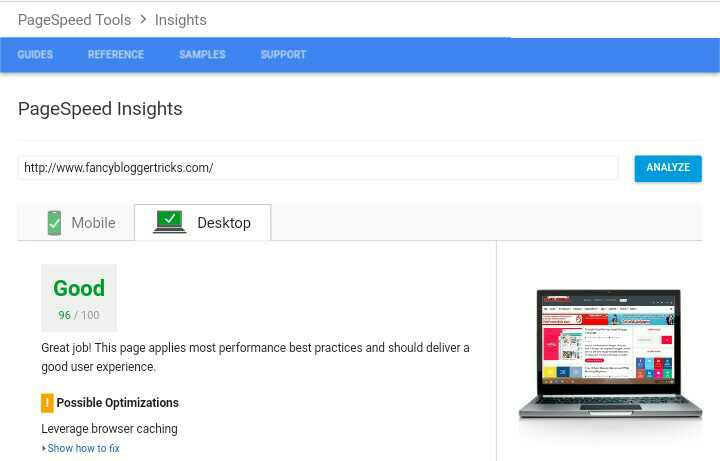 Google PageSpeed insights tools
