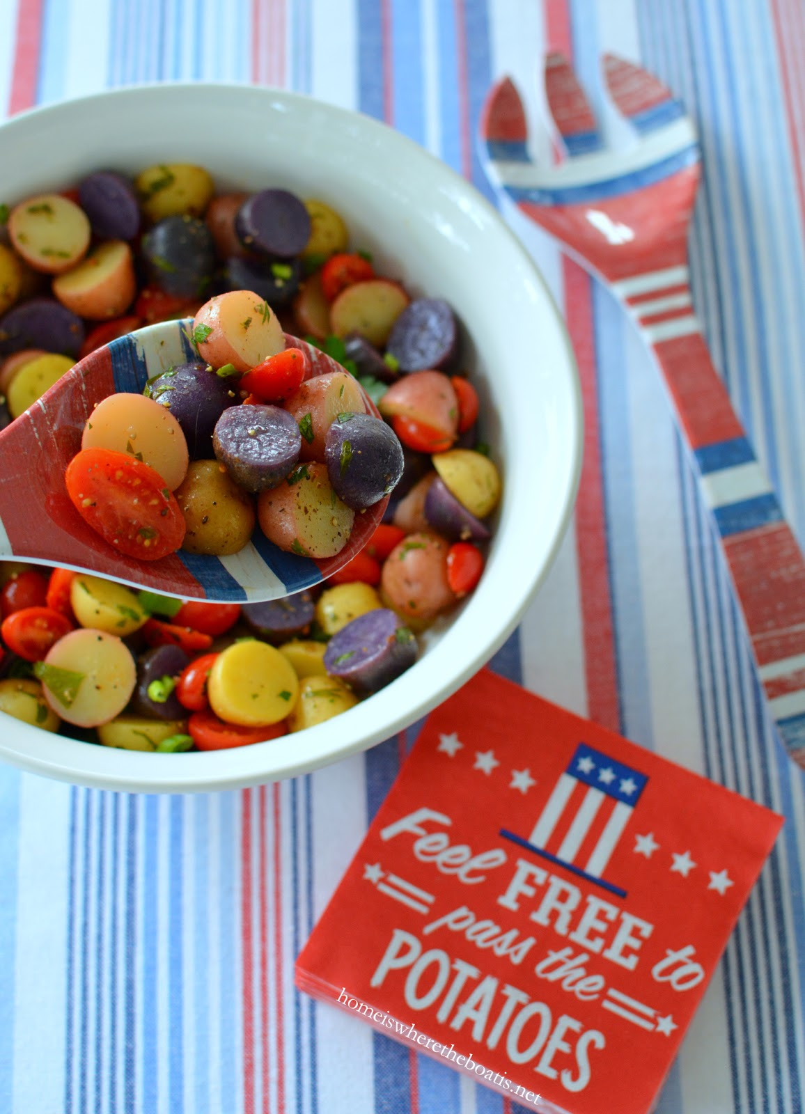 Patriotic potato salad! What's not to like about potato salad?