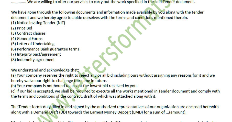 covering letter for bid submission with tender documents sample