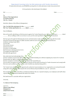 cover letter for bid submission sample