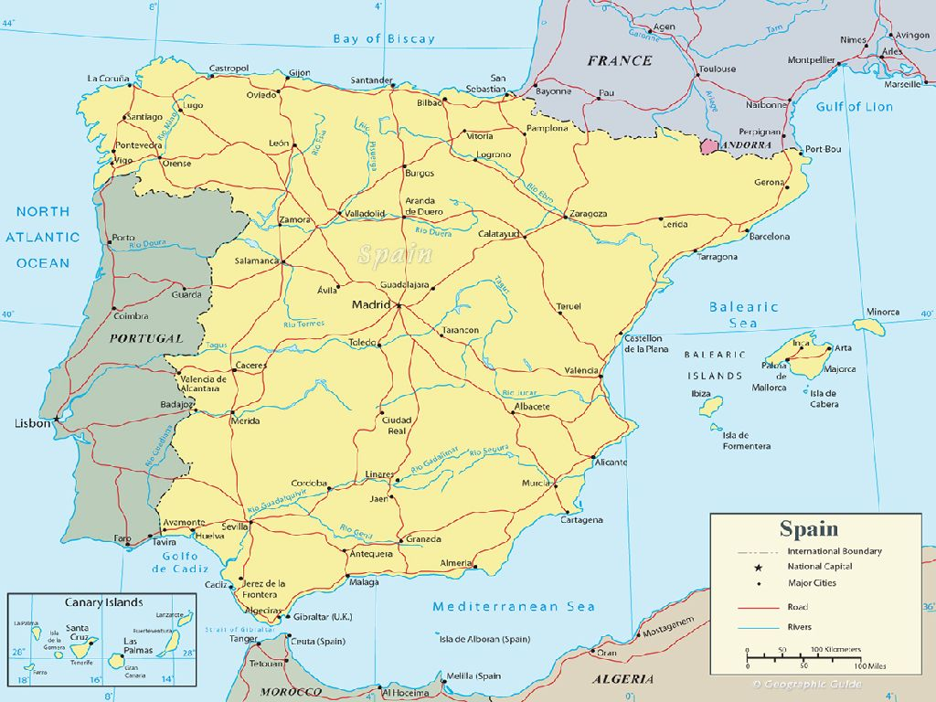 map of spain and europe