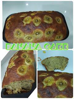Kek pisang sedap dan mudah; resipi kek pisang paling senang; resipi kek pisang pasti jadi.