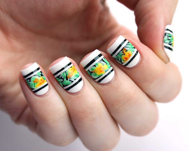 Tropical Floral Varsity Stripes Nail Art by Pack n Punch Nails