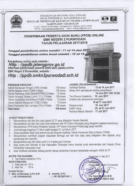 PPDB SMK Negeri 2 Purwodadi Tahun 2017/2018