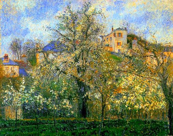 Horta i arbres en Flor, Primavera, Pontoise (Camille Pissarro)