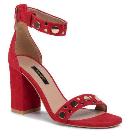 Sandale dama cu toc gros din piele naturala rosii GINO ROSSI