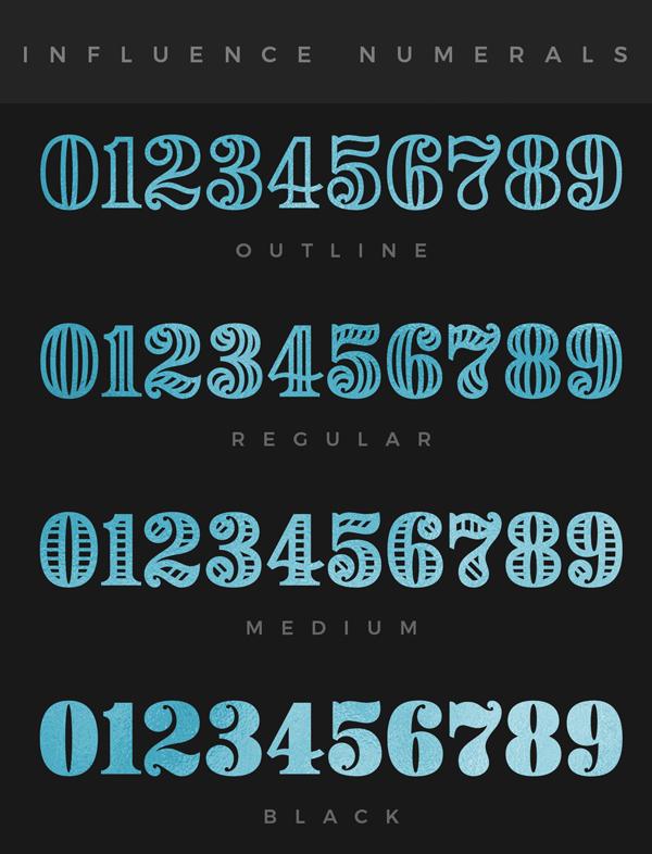 Download Font Terbaru 2018 - Influence Numerals Free Font