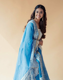 Keerthy Suresh in Blue Dress with Cute and Awesome Lovely Chubby Cheeks Smile 4