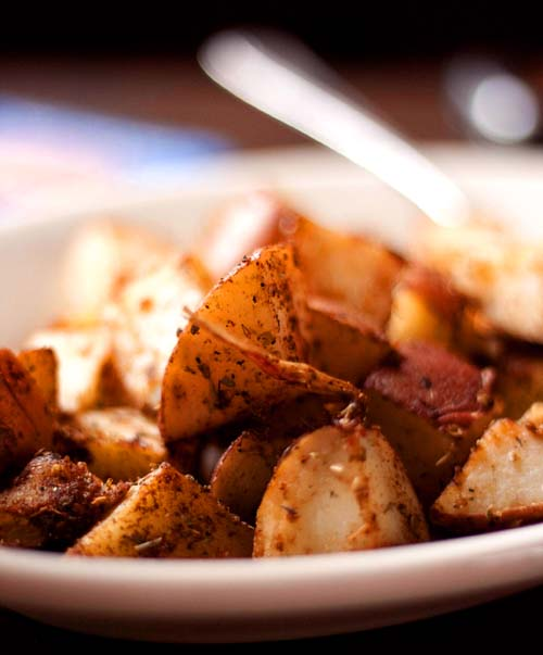 Breakfast Potatoes. It's just chopped up potatoes, microwaved, seasoned and finally cooked in a skillet. Sometimes, simple works very well.