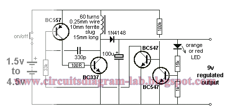 1.5.4.5V to 9V Converter Circuit Diagram