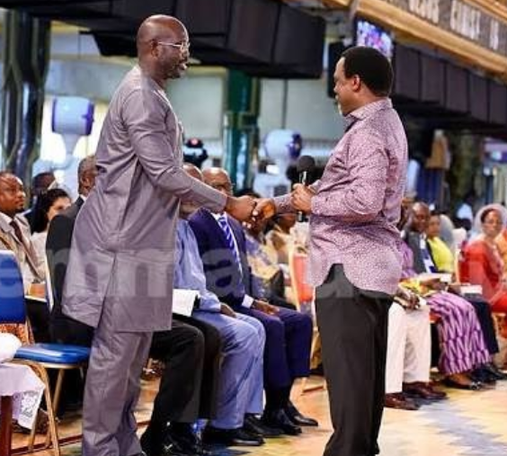 George Weah visits TB Joshua's synagogue for prayers ahead of Liberia's November 7th run off election