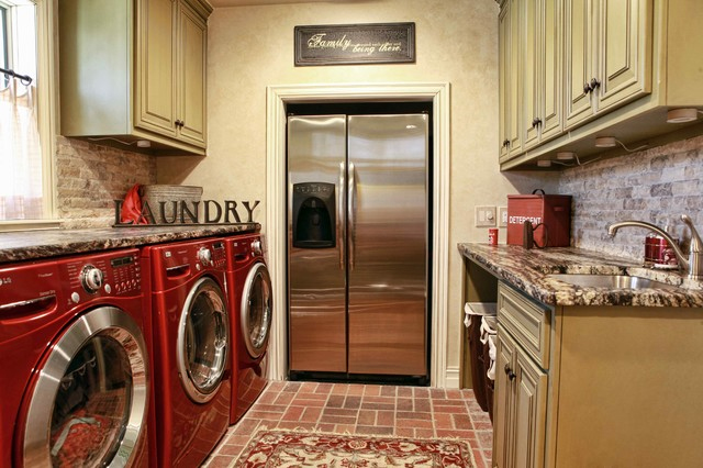 Many Homes Have A Second Refrigerator In The Garage But These Homeowners Put One Laundry Room Building It Into Wall Helped Save E