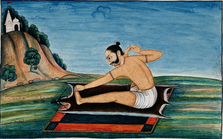 19th century painting depicting a yogic posture. Courtesy of Wellcome Collection