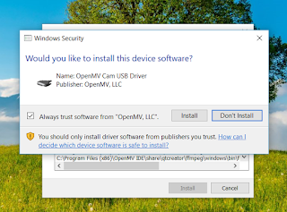 The prompt to install the USB Driver
