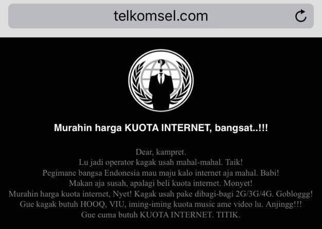 Penampakan situs Telkomsel.com saat diretas