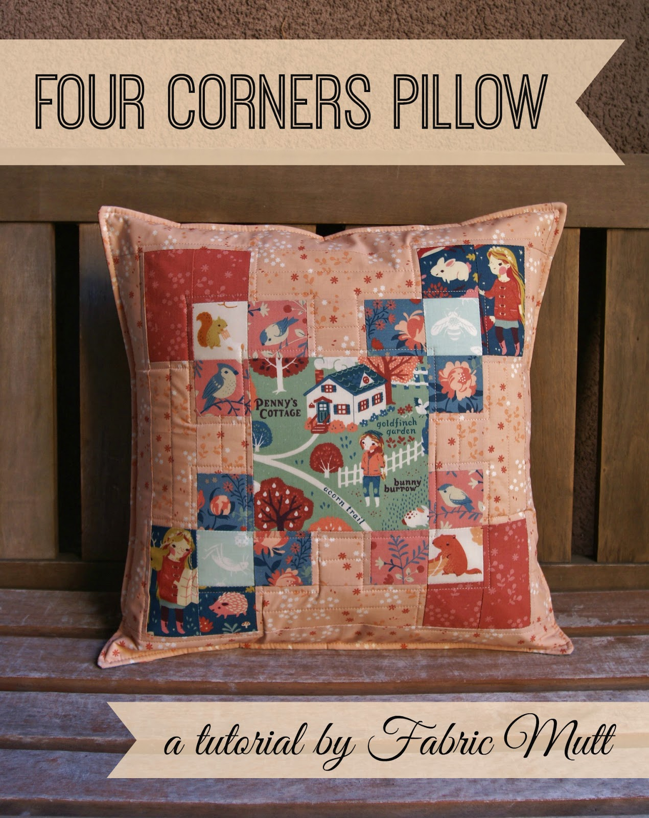 four corners pillow featuring acorn trail by fabric mutt