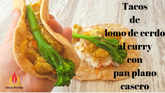 Lomo de cerdo al curry con basmati y pan plano. Porque comer sano no se enfrenta a comer delicioso