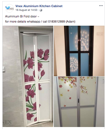 Tukar Pintu Tandas | Aluminium Bi Fold Door