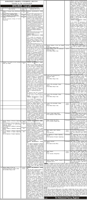 Teachers and Admin Jobs in Pakistan Baha U Din Zakariya University Multan Jobs 2016