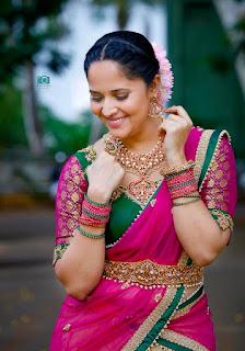 Telugu Television Actress Anasuya Latest Picture shoot In red lehenga Choli (3)