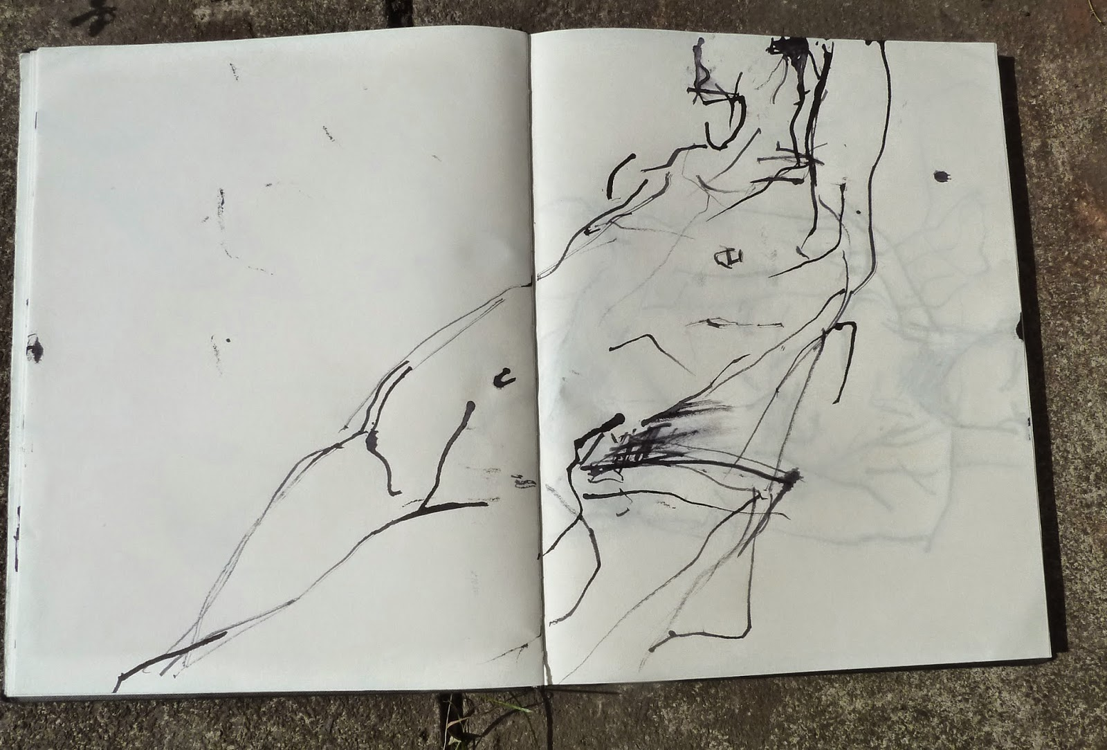 Actor lounging, ink and  twig drawing 2014