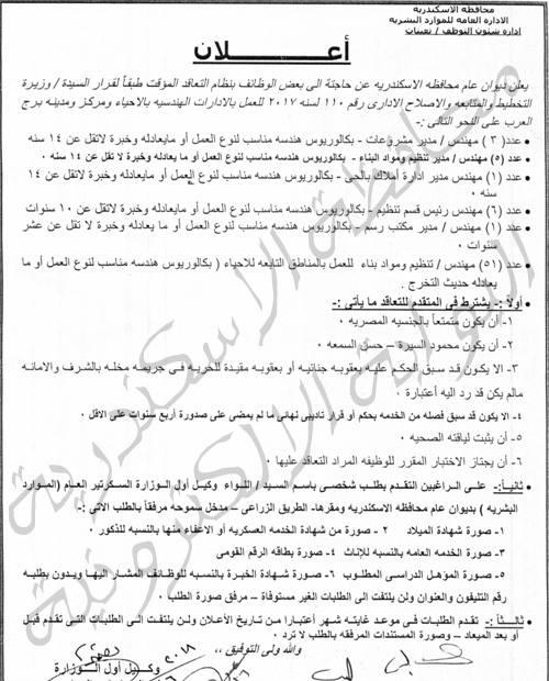 اعلان وظائف ديوان محافظة الاسكندرية يطلب موظفين جدد 29 / 8 / 2018