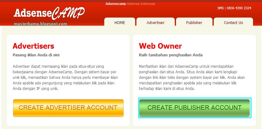 Cara Mendaftar Menjadi Publisher Di AdsenseCamp - Masterbama
