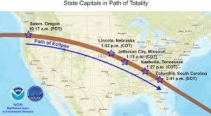 State Capitals in Path of Totality United States America solar eclipse 2017 NASA