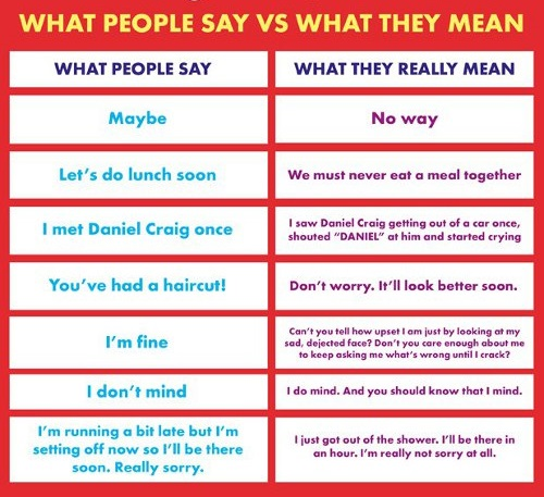 Funny What People Say Vs What They Mean Joke Picture