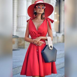 Αμάνικο κοντό  κόκκινο φόρεμα EMELY RED