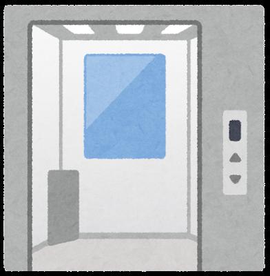 ドアが開いたエレベーターのイラスト