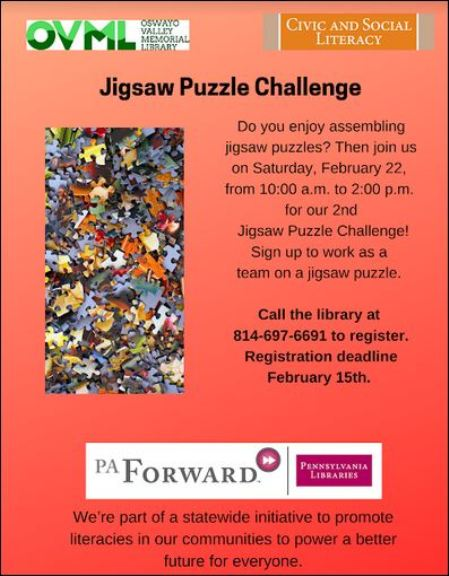 "2-22 ""Jigsaw Puzzle Challenge"" at OVML"