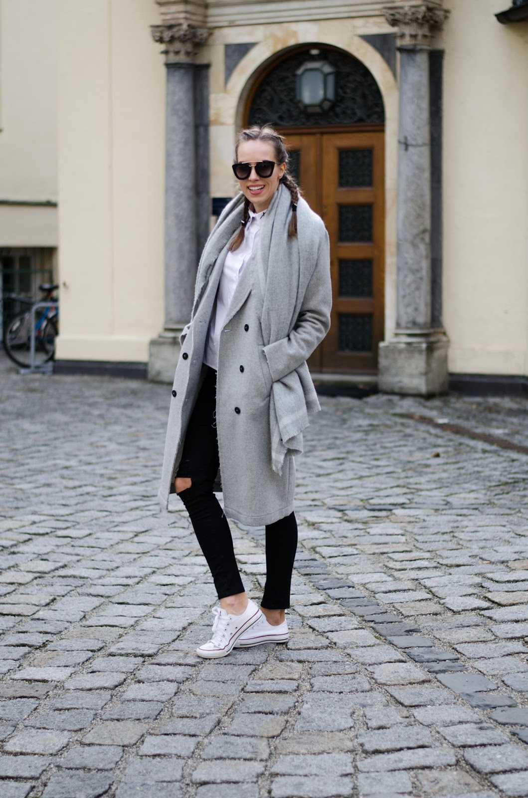 kristjaana mere gray coat black jeans converse french braids minimalist outfit