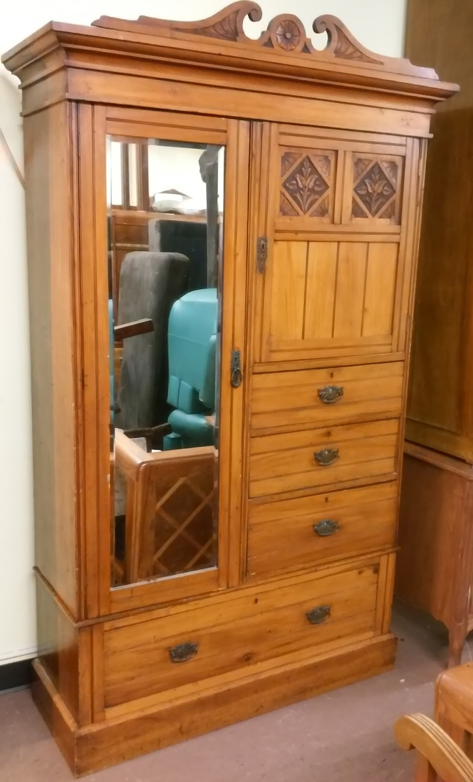 uhuru furniture collectibles sold 50 wide art nouveau armoire 225. Black Bedroom Furniture Sets. Home Design Ideas