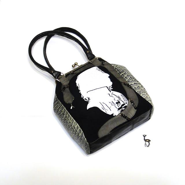 Женская черная сумка Гарри Поттер Северус Снегг, он же Северус Снейп - женская сумочка ручной работы: габардин и натуральная кожа