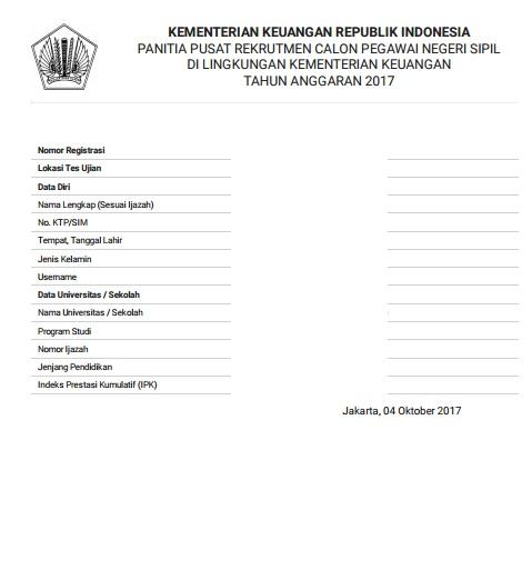 Bagaimana Cara Pengambilan Tanda Peserta Ujian  Bagaimana Cara Pengambilan Tanda Peserta Ujian (TPU) CPNS Kementerian Keuangan