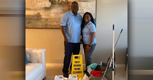Mister and Virginia, founders of Nelson's Professional Cleaning Services