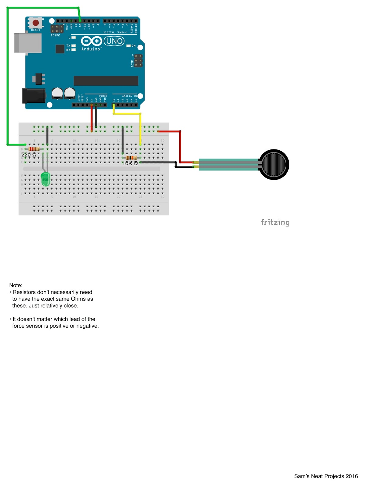 Sam's Neat Project Blog CODE: Force Sensor: Code and Wiring