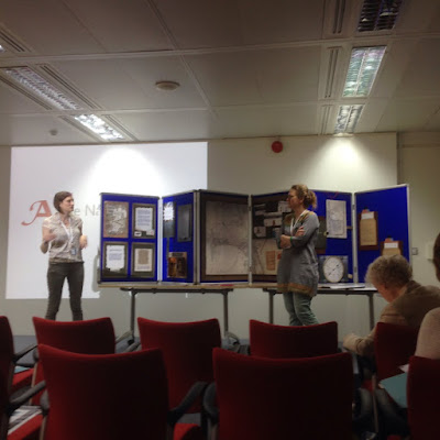 Victoria and Jo presenting at The National Archives, photograph courtesy of Fionnuala Walsh and the Everyday Lives in War Centre