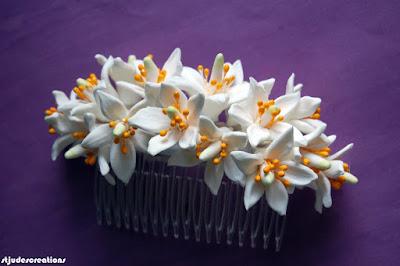 orange blossoms wedding hair bride