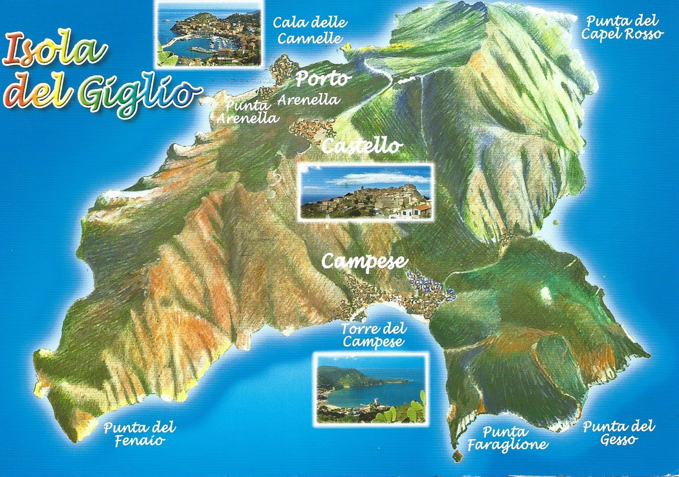 MY POSTCARDPAGE ITALY Giglio Island Arcipelago Toscano - Clear map of italy