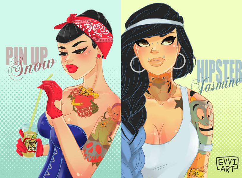 Princesas da Disney Hispters ilustrações