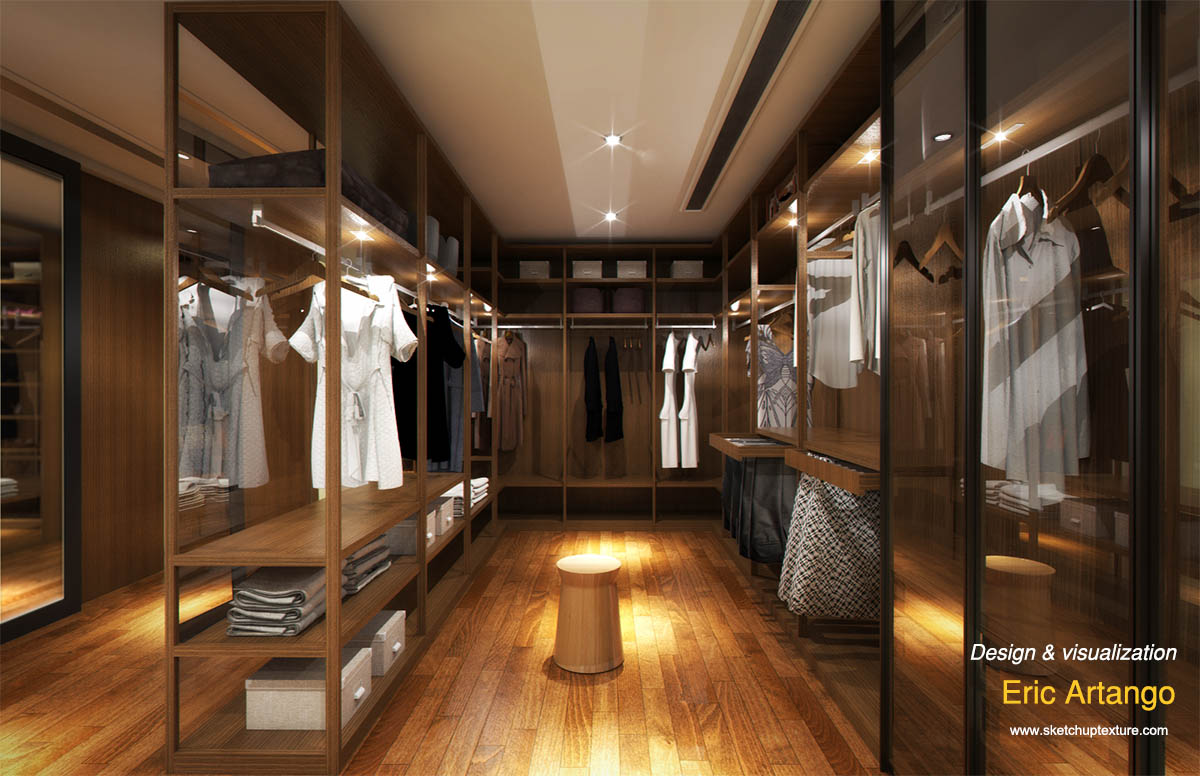 Free sketchup 3d model modern walk-in closet  #1b