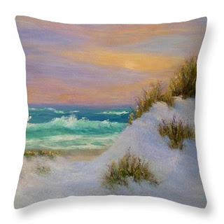 Coastal beach Throw Pillow with waves and beach and sand dunes