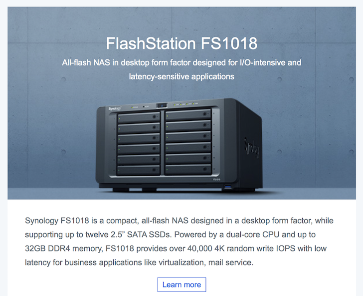New 2018 Synology Flash NAS