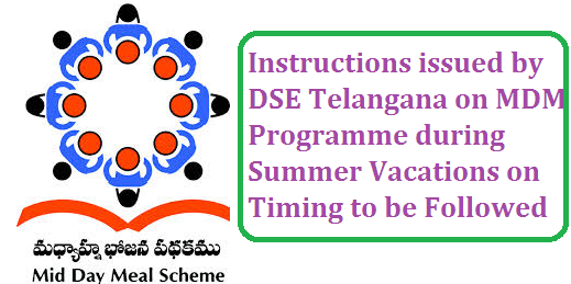 DSE Telangana given some instruction on MDM in Telangana Directorate of School Education of Telangana State has instructed to DEOs on Serving MDM during summer vacations. School Education Dept Implementation of Mid Dy Meals  Scheme in all Schools in the State exept Hyderabad for classes I to VIII and IX and X classes during summer vacations dring the year 2016-17-ceratin instructions issued